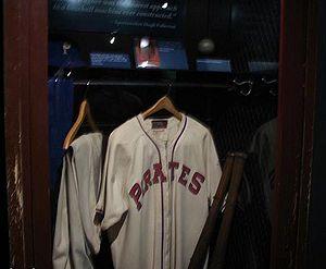 English: Honus Wagner's locker on the display ...