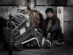 A homeless person in Paris.