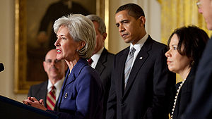 Kathleen Sebelius speaking after her official ...