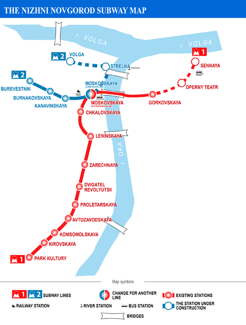 Network map for the Nizhny Novgorod Metro