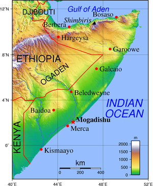 Topographic map of Somalia with english labels...