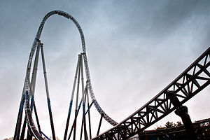 English: The roller coaster Stealth at Thorpe ...