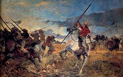 Vuelvan Caras. Óleo sobre tela de Arturo Michelena, representando a la Batalla de las Queseras del Medio