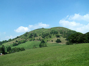 English: Looking up Caer Caradoc from towards ...