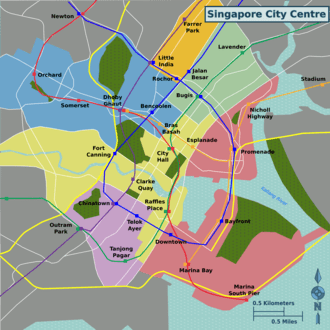 Geographic Map Of Mrt Lines In The City Centre
