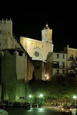 Girona in Spain at night.