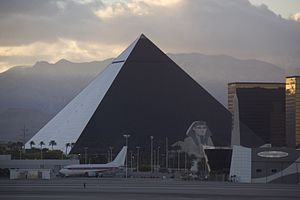 The Luxor Hotel as seen from the Las Vegas Air...