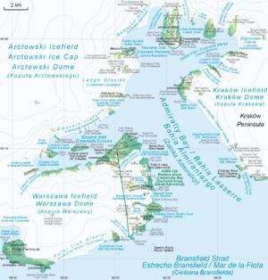 English: Map of Admiralty Bay Polski: Mapa Zat...