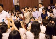 Tsai attends the commencement of her alma mater, public girls' high school in Taipei, June 2016