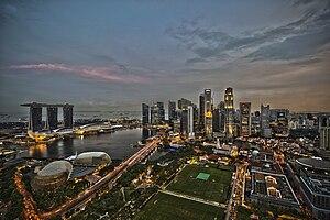 English: boat quay Singapore skyline cbd marin...