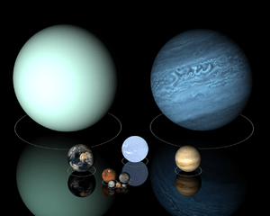 Top row: Uranus, Neptune; Centre row: Earth, w...