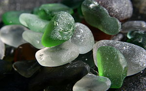 Green and white sea glass.