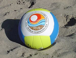 A beach volleyball ball.