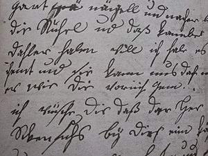 An example of the hand-writing of Christiane V...