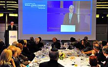 Germany's Foreign Minister Frank-Walter Steinmeier addressing a dinner of the World Jewish Congress in Berlin, 14 September 2014