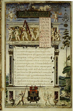 Opening of De rerum natura, 1483 copy by Girol...