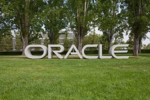 Oracle sign at Oracle Corporation hea...
