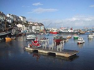 English: Santa sleigh in Brixham inner harbour