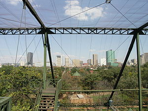 Pretoria city skyline seen from the aviary at ...