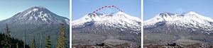 Left: Mount Saint Helens from Johnson Ridge, S...