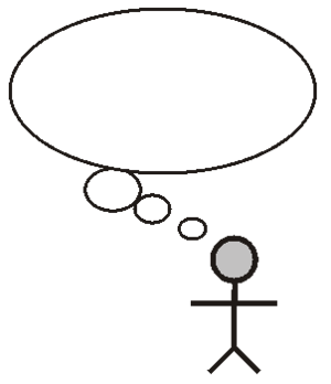 English: Human figure with thought bubbles