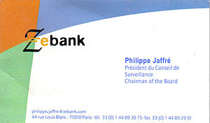 Philippe Jaffré 'business card at Zebank