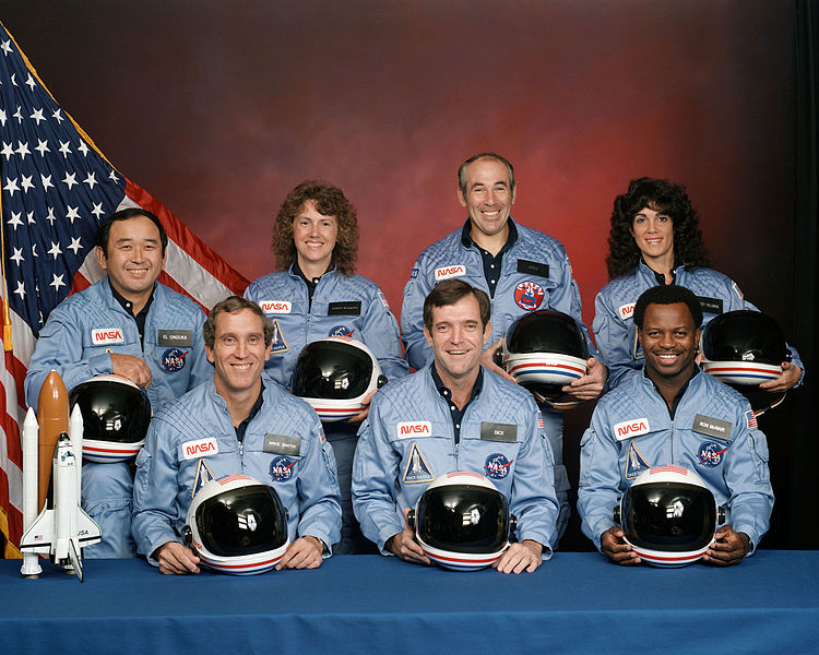 Ellison Onizuka, Christa McAuliffe, Gregory Jarvis and Judith Resnik; front row, left to right: Michael J. Smith, Francis (Dick) Scobee and Ronald McNair.