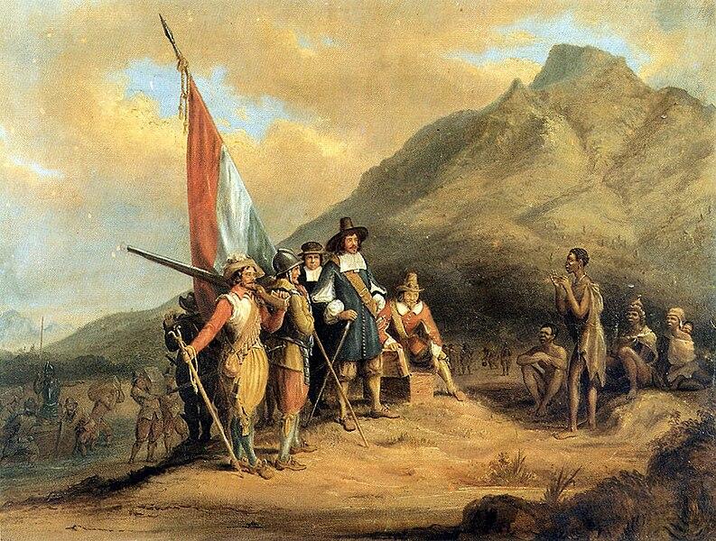 Archivo:Charles Bell - Jan van Riebeeck se aankoms aan die Kaap.jpg