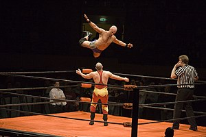 A nice top rope flying cross body. The oponent...