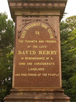 Monument to David Berry, a good landlord of wh...