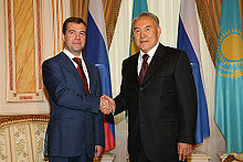 Meeting with the Russian president Dmitry Medvedev in 2008 in Astana