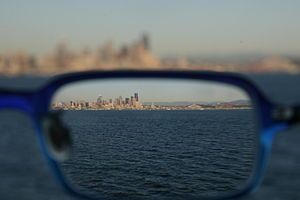 The image of Seattle being refracted through m...