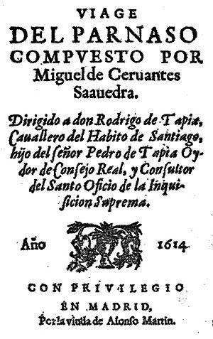Portada del Viaje del Parnaso, de Cervantes