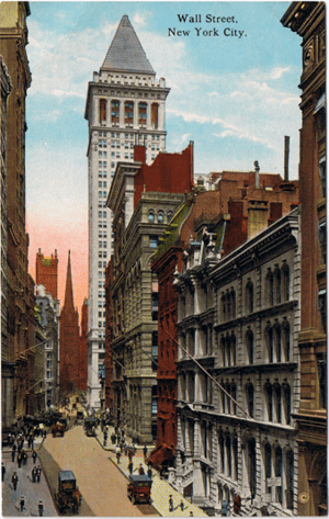 Glossy color postcard of Wall Street, New York...