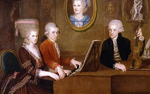 Wolfgang Mozart with sister Maria Anna and fat...