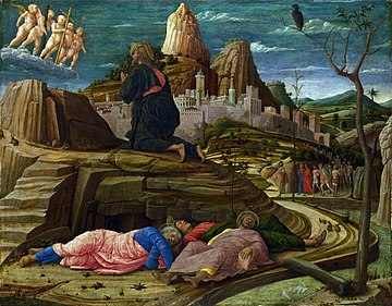 The Agony in the Garden (right panel of the predella of the San Zeno Altarpiece, 1455) National Gallery, London is the pinnacle of Mantegna's early style.