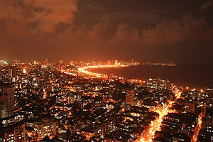 Marine Drive in South Mumbai seen during the n...