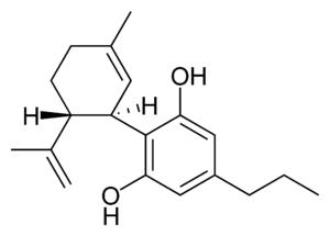 Chemical structure of cannabidivarin.