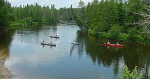 Canoes along the Au Sable River (Michigan), USA
