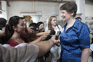 Helen Clark visits a ceramic workshop that is ...