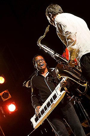 Herbie Hancock live in concert playing the keytar.