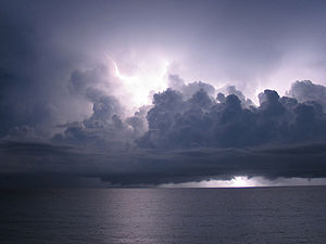 Lightning storm over the Caribbean