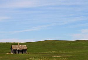 English: Prairie Homestead, Milepost 213 on I-...