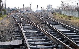 Railroad in Gyula (Hungary)