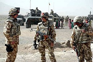Romanian soldiers in Southern Afghanistan duri...