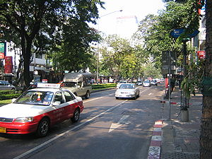 Silom Road in downtown Bangkok, Thailand, has ...