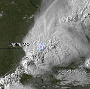 English: NOAA satellite image of a thunder sto...