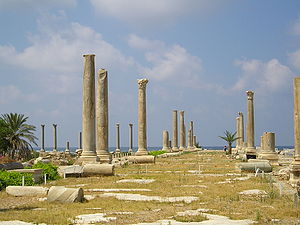 Main colonnaded street at Al Mina excavation site