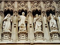 From the Gallery of 20th Century Martyrs at Westminster Abbey — l. to r. Mother Elizabeth of Russia, the Revd Martin Luther King, Archbishop Oscar Romero and Pastor Dietrich Bonhoeffer