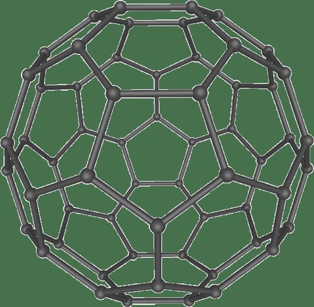 Buckminsterfullerene molecule, AKA buckyball: a subject of intense research under the umbrella of nanotech. Click image to link to Wikipedia on nanotech.